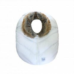 7AM Saco Car Seat Cocoon White Faux Fur